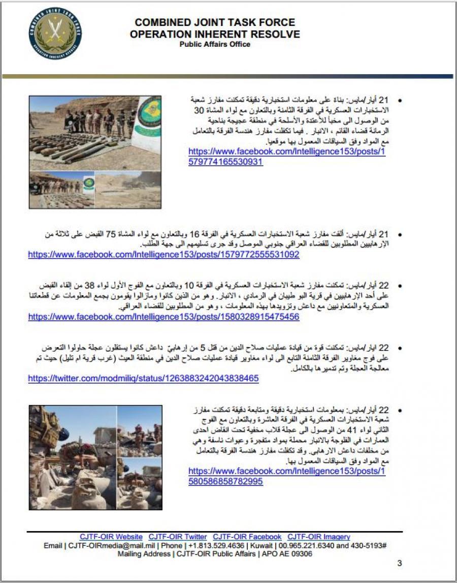 بالوثائق .. التحالف الدولي تنشر ابرز الانجازات المتحققة ضد داعش خلال اسبوع