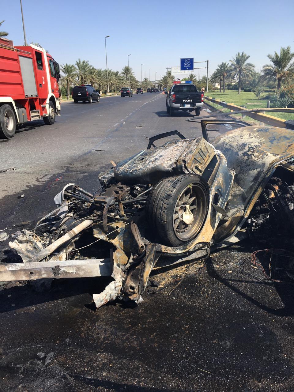 بالصور ..  حادث مروري مروع يودي بحياة شخصين على طريق مطار بغداد الدولي