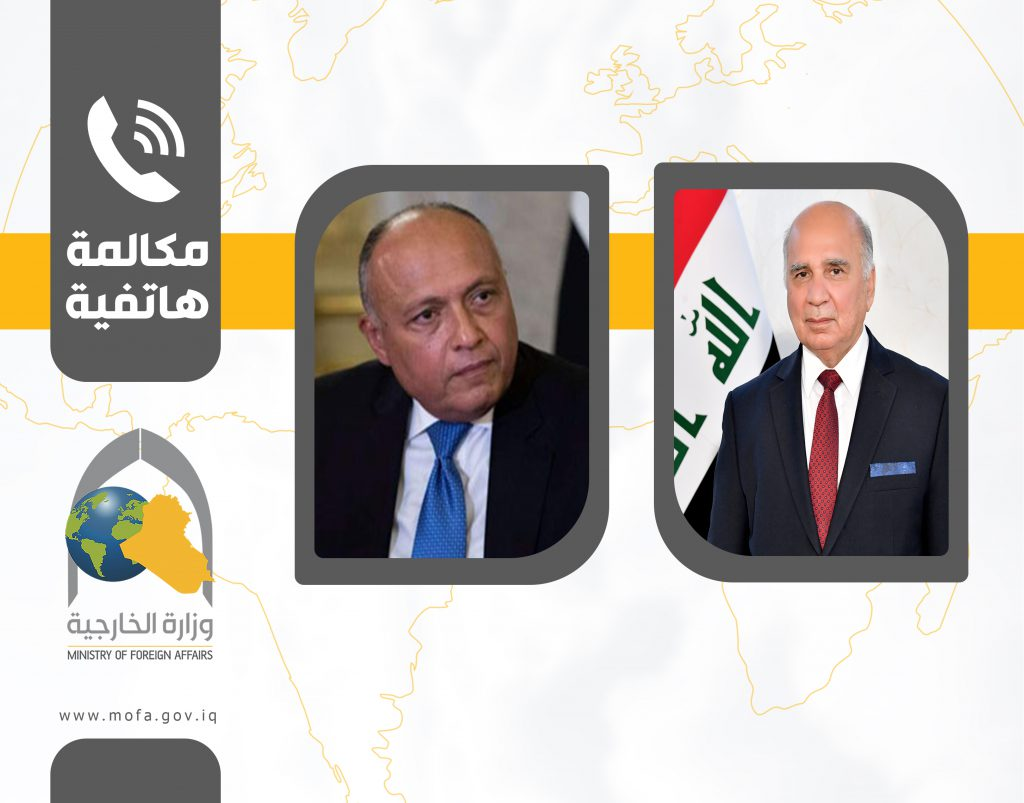 وزير الخارجية لنظيره المصري: بغداد متمسكة بالعلاقات الستراتيجيّة مع القاهرة