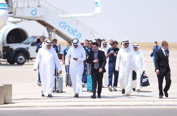 بالصور ..  وصول المنتخب الكويتي الى مطار أربيل