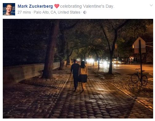 كيف قضى مؤسس الفيس بوك عيد الحب