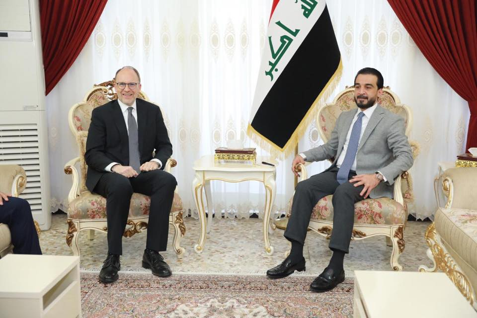 Al-Halabousi is discussing with the US ambassador the support of liberated reconstruction and investment Image