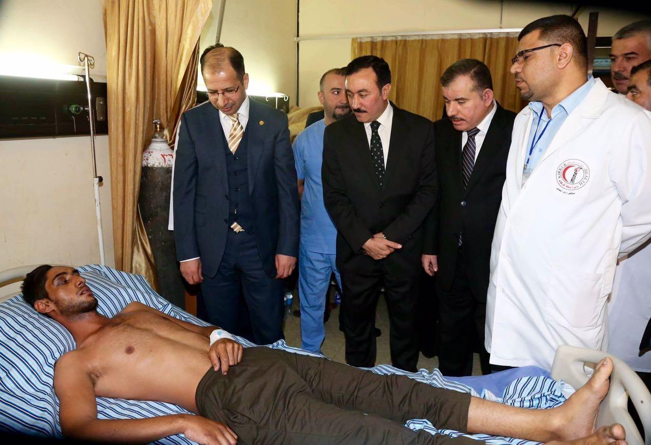 رئيس البرلمان يزور مستشفى ازادي في كركوك ويتفقد الوضع الصحي لجرحى القوات الامنية والبيشمرگة وحادثة قصف مجلس العزاء في داقوق
