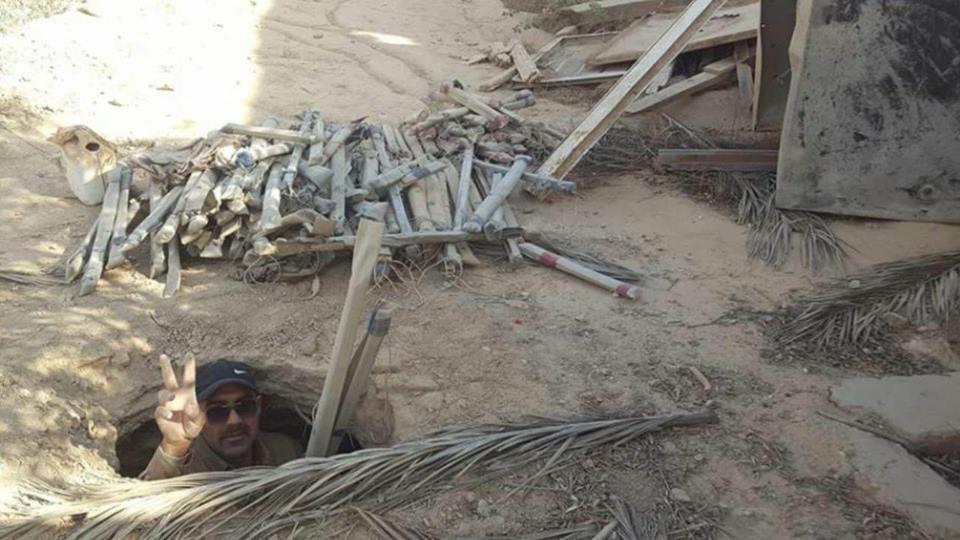 (بالصور) العثور على أنفاق لداعش في قرية الوضاحية التابعة لناحية البغدادي غربي الانبار