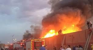 اندلاع حريق في عدد من المحال التجارية غربي بغداد
