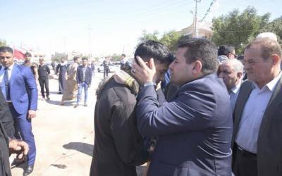 """""""بالصور"""" الأعرجي يزور مجالس العزاء لشهداء لواء مغاوير حرس الحدود"""