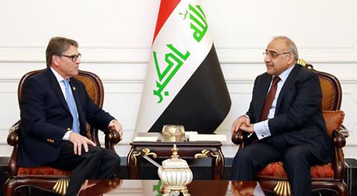 وزير الطاقة الامريكي يؤكد لعبد المهدي اهتمام بلاده بملفي الكهرباء والنفط