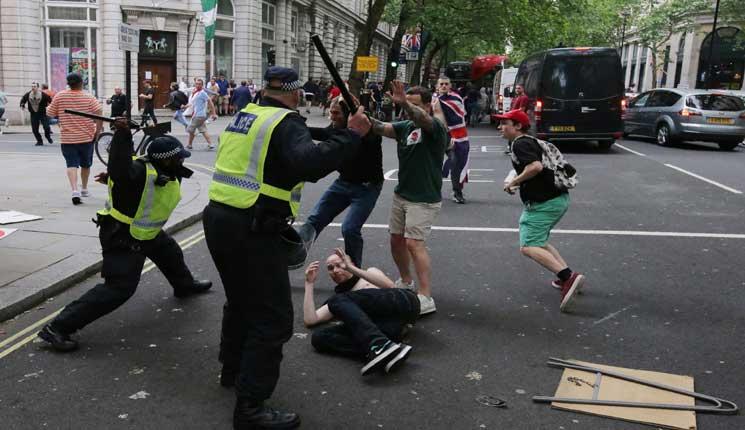توقيف خمسة أشخاص خلال تظاهرة لليمين المتطرف في لندن
