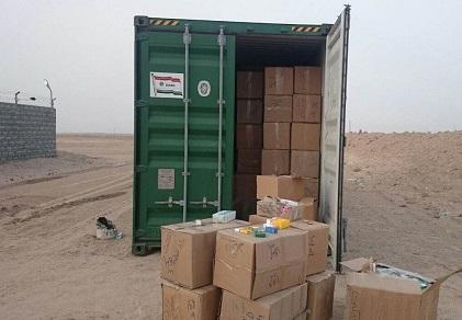ضبط حاوية محملة بالادوية المستوردة كانت متروكة في احدى مزارع ناحية سفوان