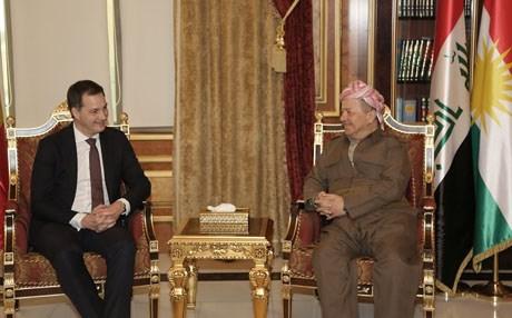 البارزاني يبحث مع نائب رئيس الوزراء البلجيكي ملفي النازحين ومكافحة الارهاب في العراق
