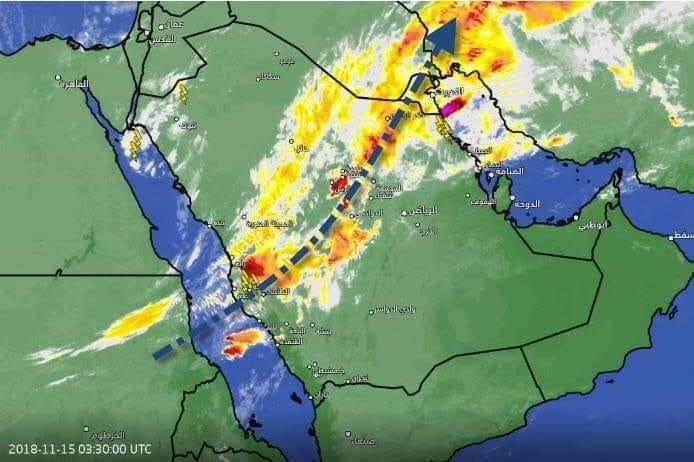 الانواء الجوية: سيول خلال الثلاثة ايام القادمة في جنوب محافظات البلاد