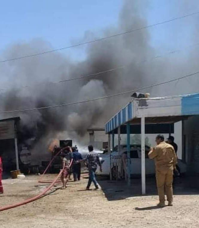 نشوب حريق كبير بنقطة لمركز شرطة في واسط
