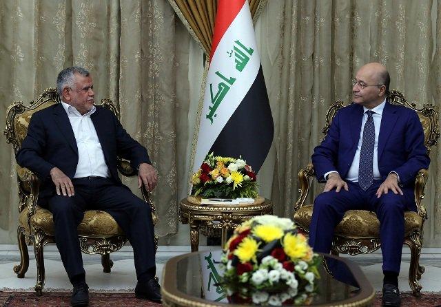 رئيس الجمهورية يؤكد خلال لقائه العامري على أهمية الاسراع بتشكيل الحكومة