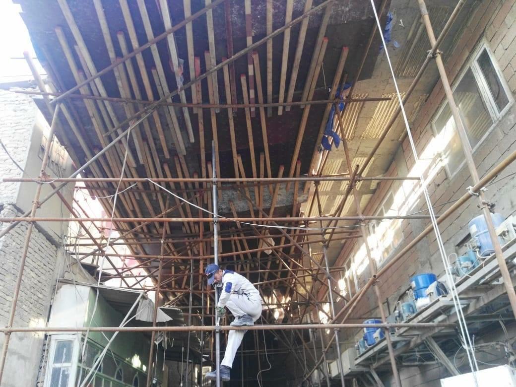 انهيار اجزاء من جامع البغدادي في النجف الأشرف شارع زين العابدين