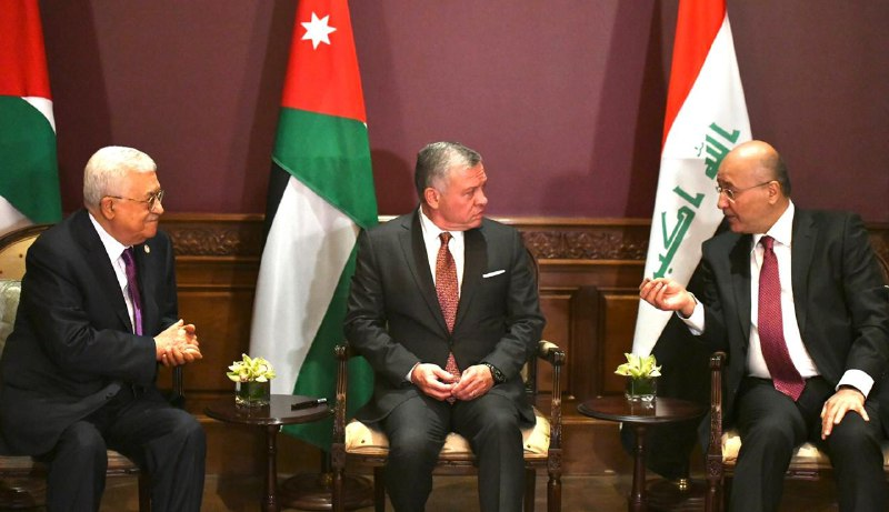 A tripartite meeting between the President of the Republic, the Jordanian King and the Palestinian President in Amman Image