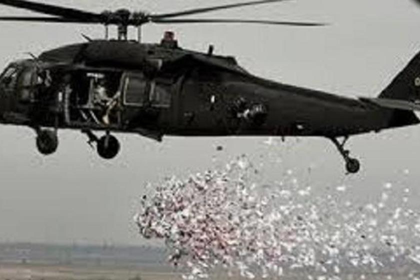 طائرات القوة الجوية تلقي منشورات تحث المواطنيين على الخروج باتجاه القوت الأمنية
