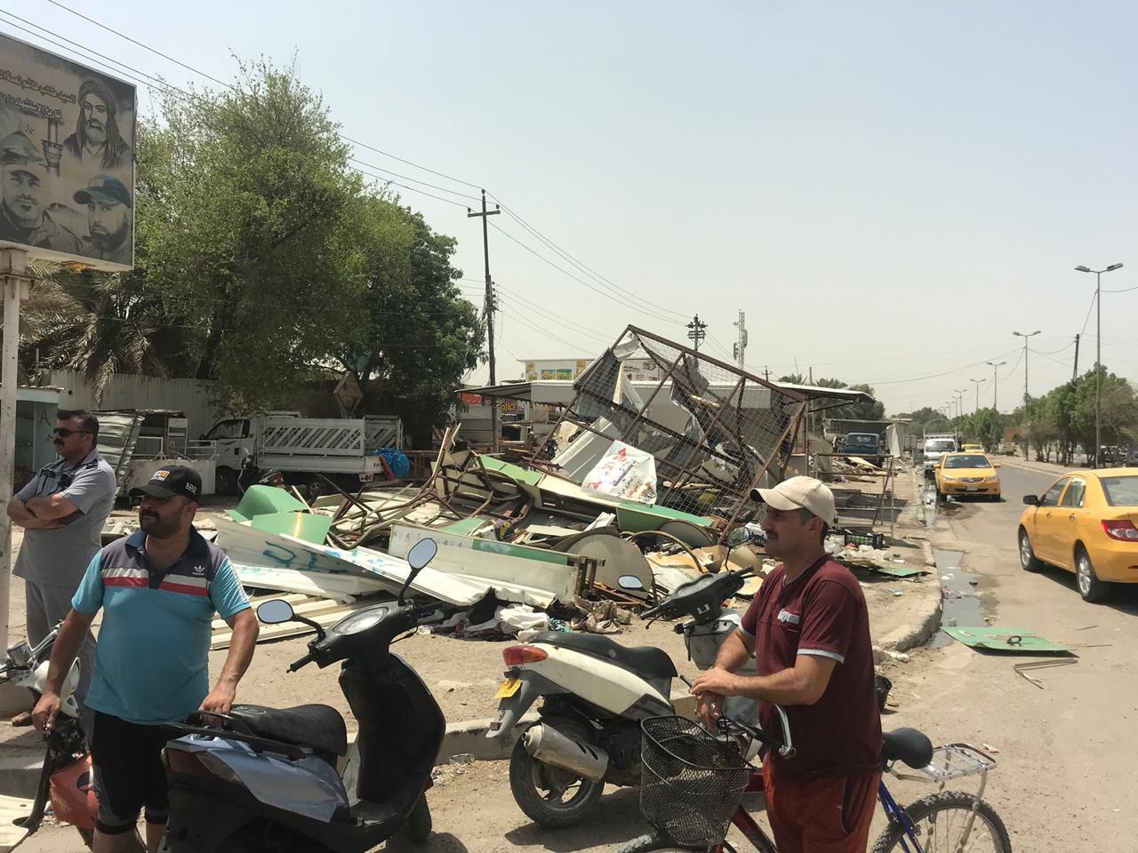 ازالة كاملة لسوق متجاوز جنوب بغداد