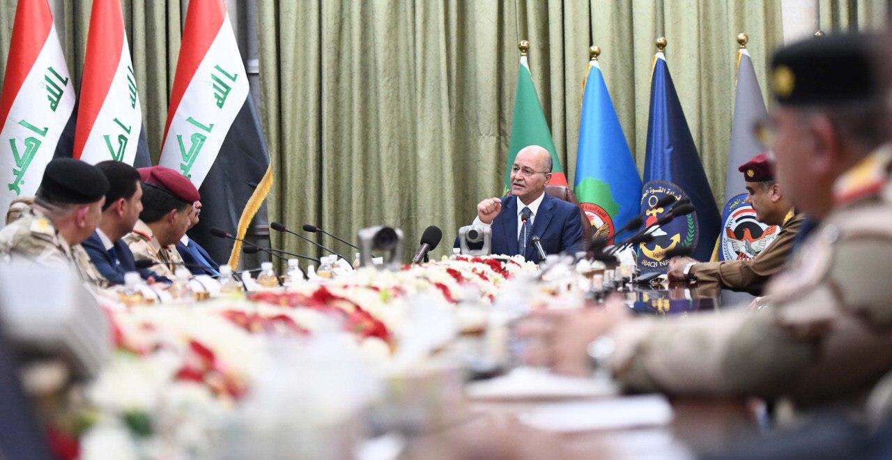 خلال زيارته لوزارة الدفاع ..  صالح: العراق لن يكون ساحة صراع للاخرين