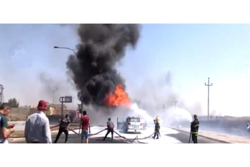 السيطرة على حريقا نشب في صهريج محمل بمادة الإسفلت شمالي الكوت