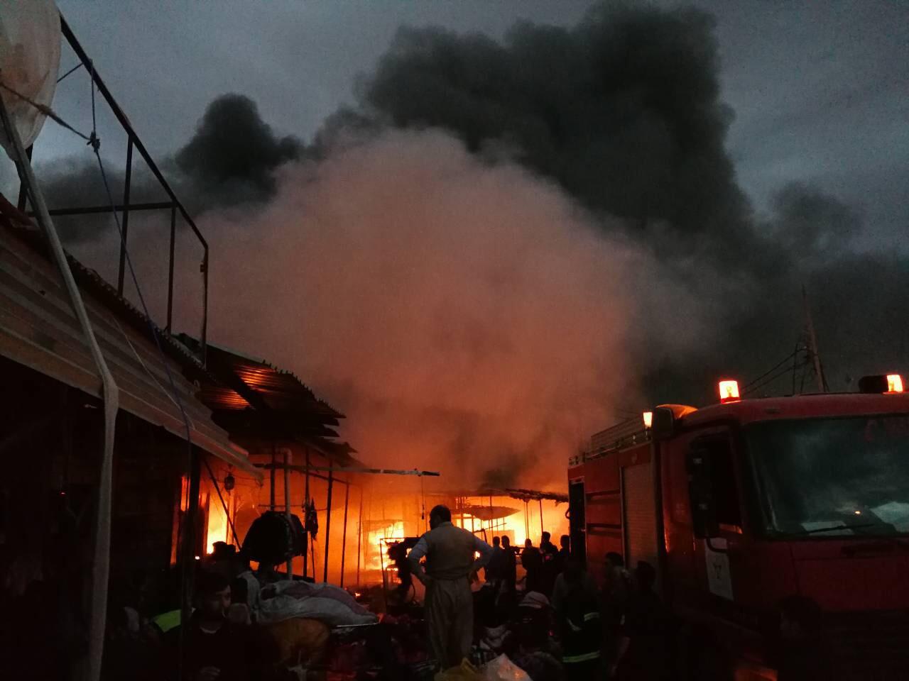 إخماد حريق نشب داخل قيصرية كركوك التجارية تضم 365 محلا تجاريا