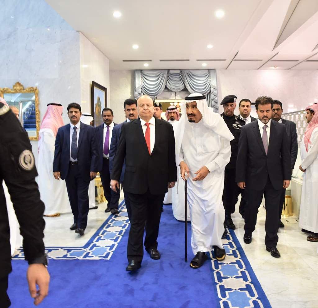 خادم الحرمين الملك سلمان يلتقى الرئيس عبد ربه بقصر السلام بجدة