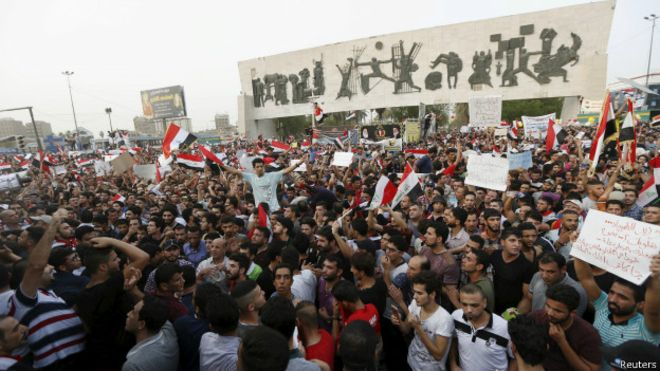 Activists protest demonstrations continuing until the withdrawal of confidence from the Government Abadi