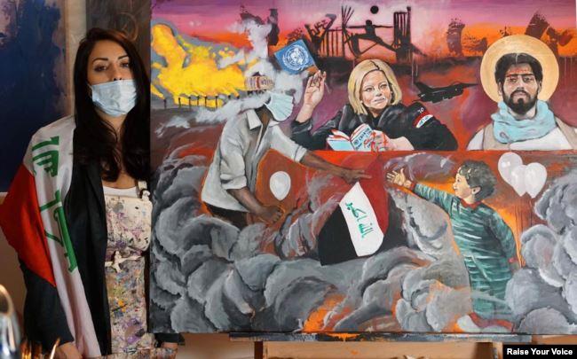 مغتربات عراقيات يخلدن التظاهرات في لوحات فنية
