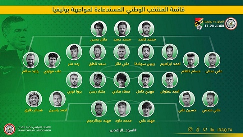 """تشكيلة المنتخب العراق """"النهائية"""" لمواجهة بوليفيا"""