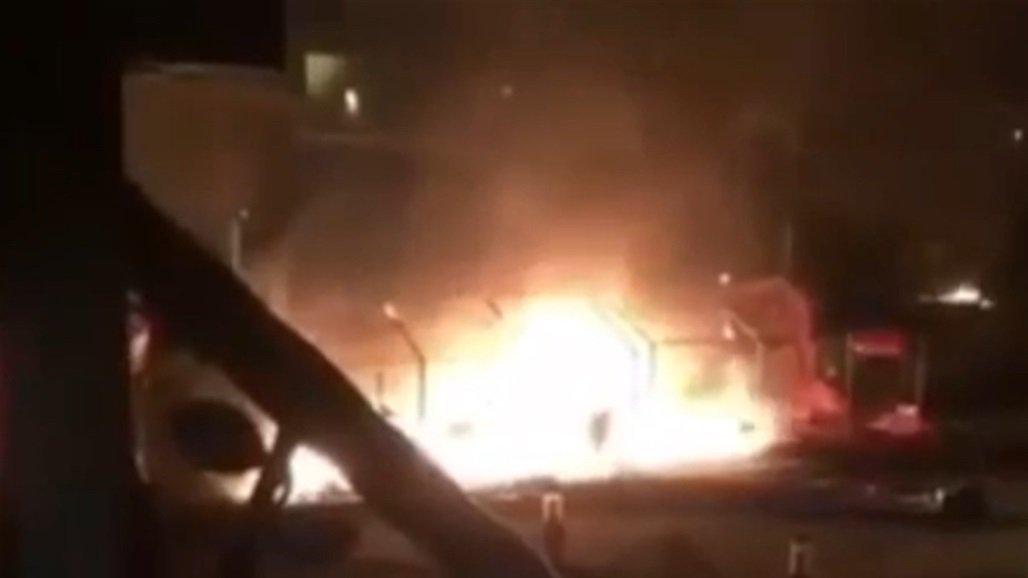 إعادة نصب خيم الاعتصام في البصرة بعد حادثة الحرق