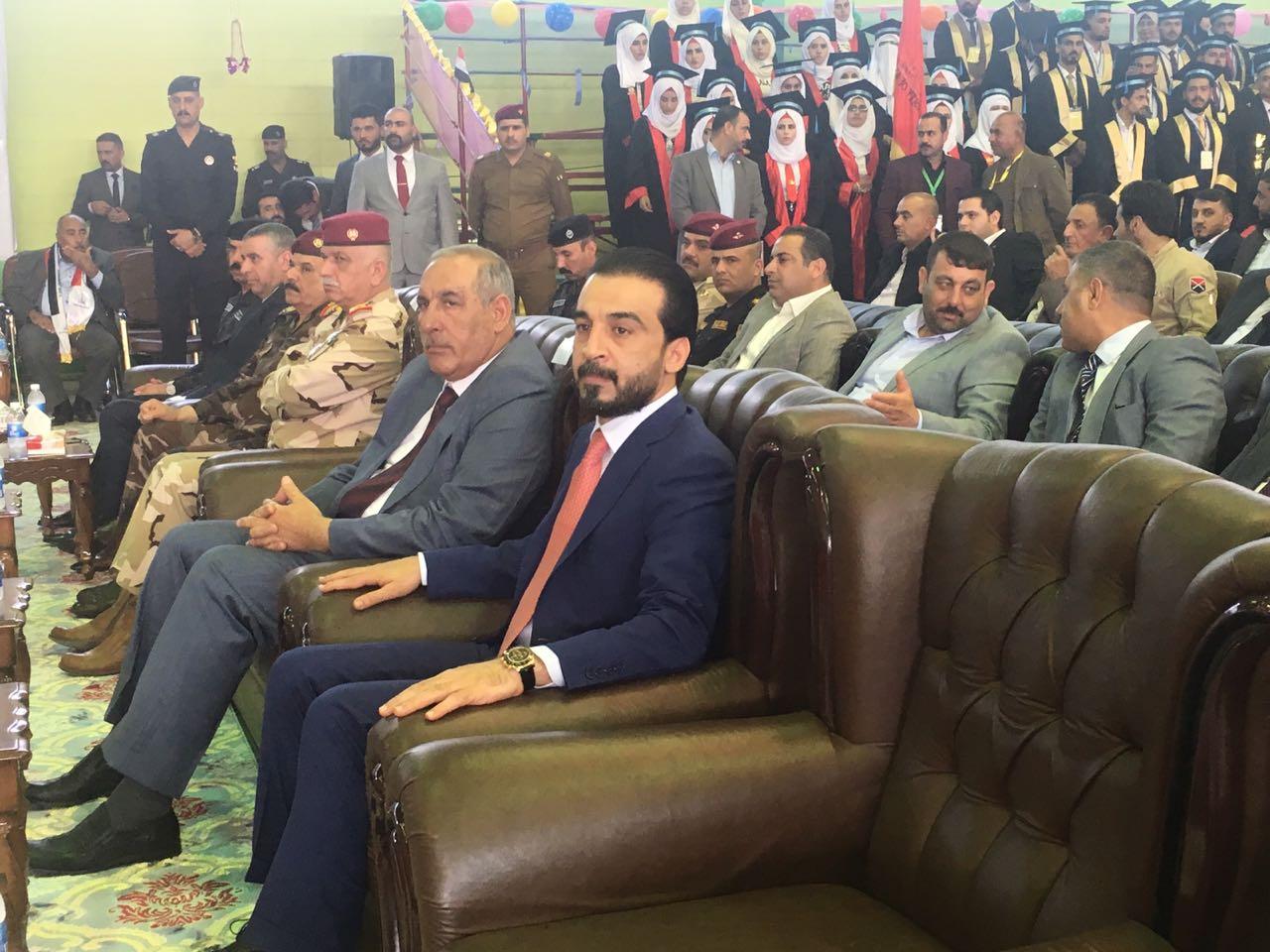 رئيس مجلس النواب محمد الحلبوسي يصل الى الانبار ويحضر حفل لتخرج طلبة الجامعة