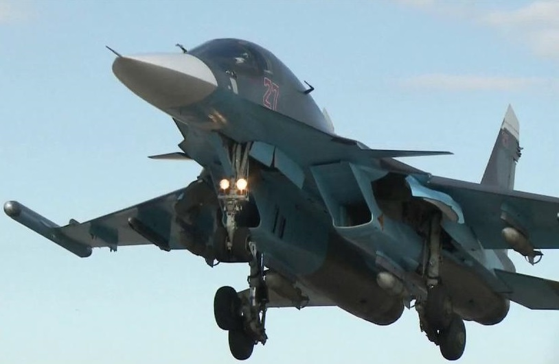 Turkish military fighter warplane drops a Russian